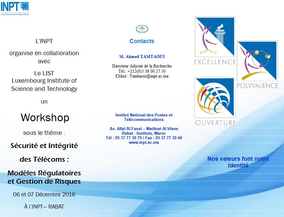 Workshop « Sécurité et intégrité des télécoms : modèles régulatoires et gestion des risques » à l'INPT